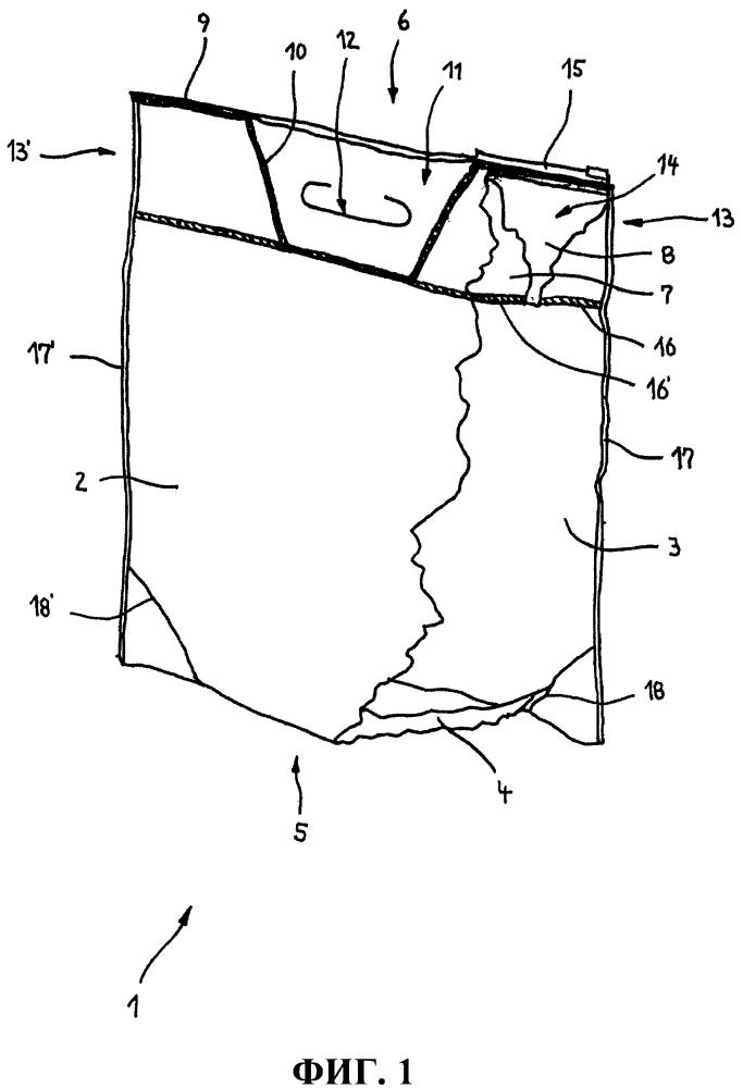 Емкость для упаковки фасуемых материалов и способ обработки материала полотна