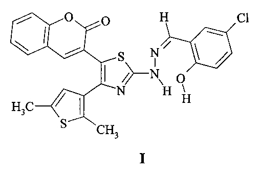 3-[2-[n-(2-гидрокси-5-хлорбензилиден)гидразино]-4-(2,5-диметилтиофен-3-ил)тиазол-5-ил]хромен-2-он - хромогенный хемосенсор на анионы f-