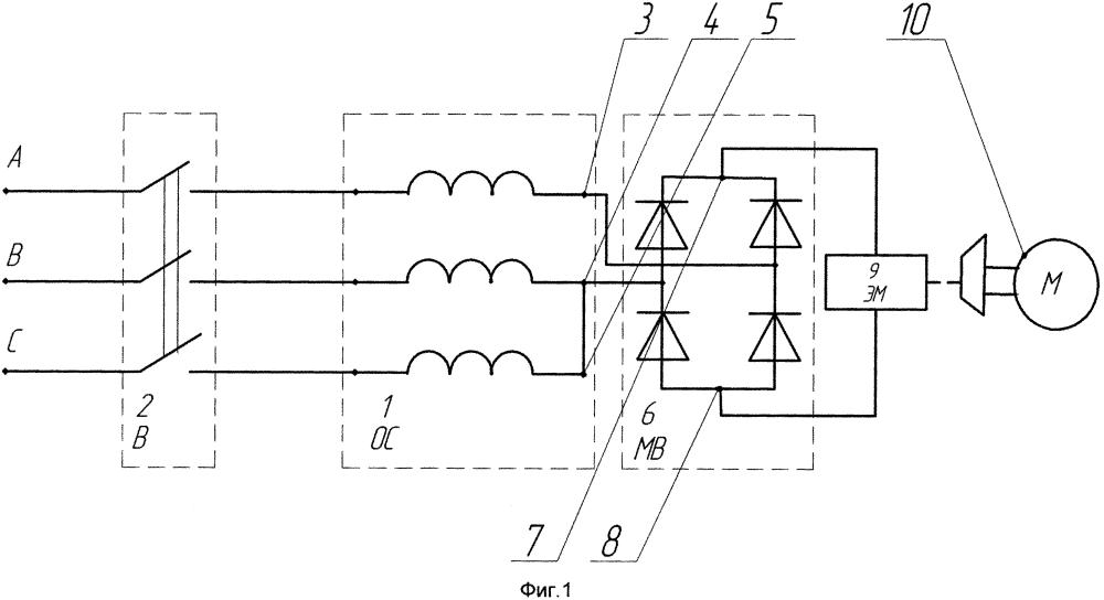Электромагнитный привод тормоза форсированного пуска асинхронного двигателя