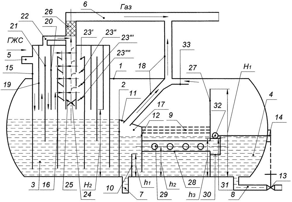 Жидкостно-газовый сепаратор