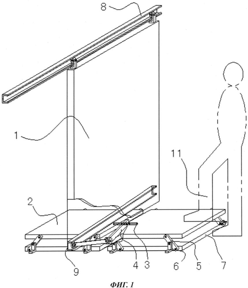 Механизм напольной панели для устройства открывания/закрывания двери