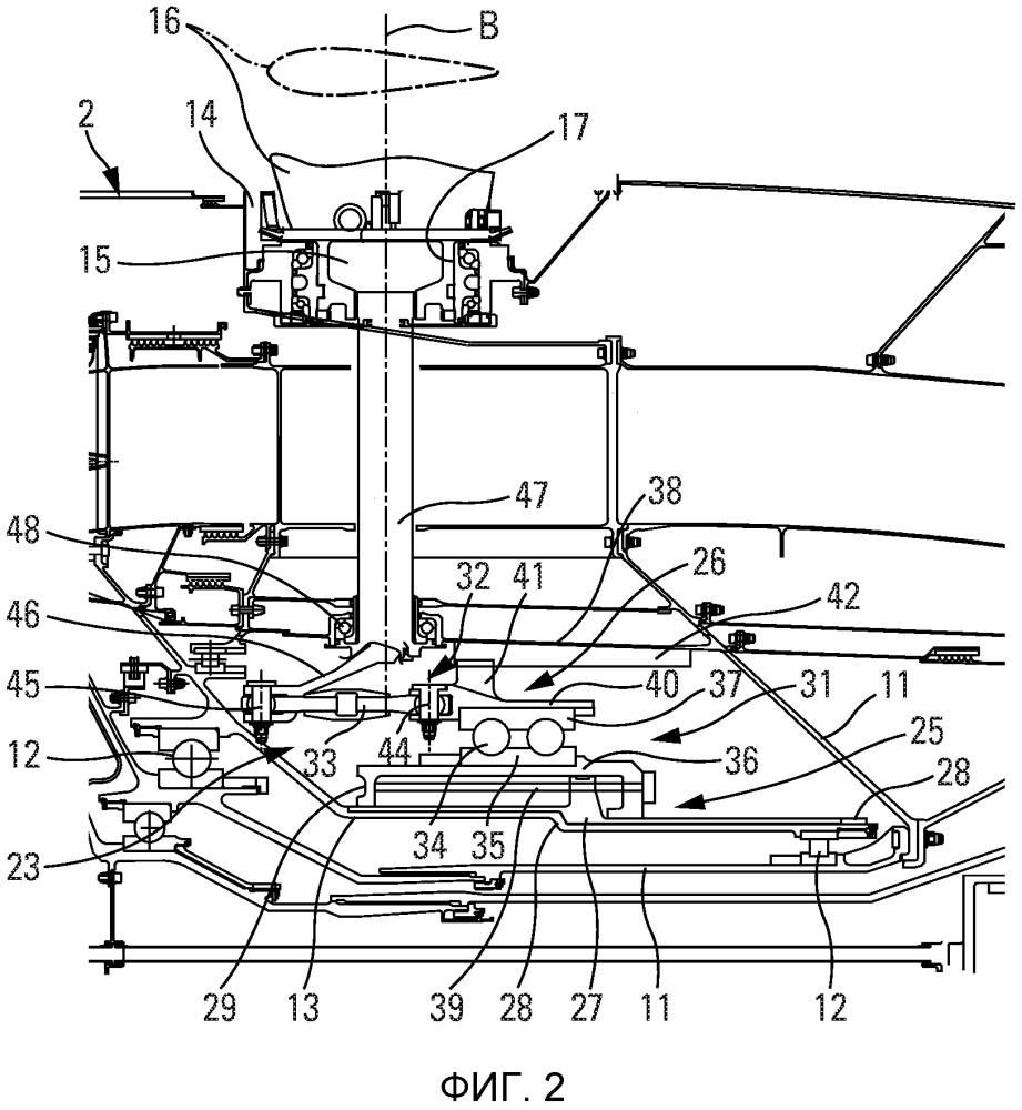 Турбомашина с воздушным(и) винтом (винтами) для летательного аппарата с системой для изменения шага воздушного винта