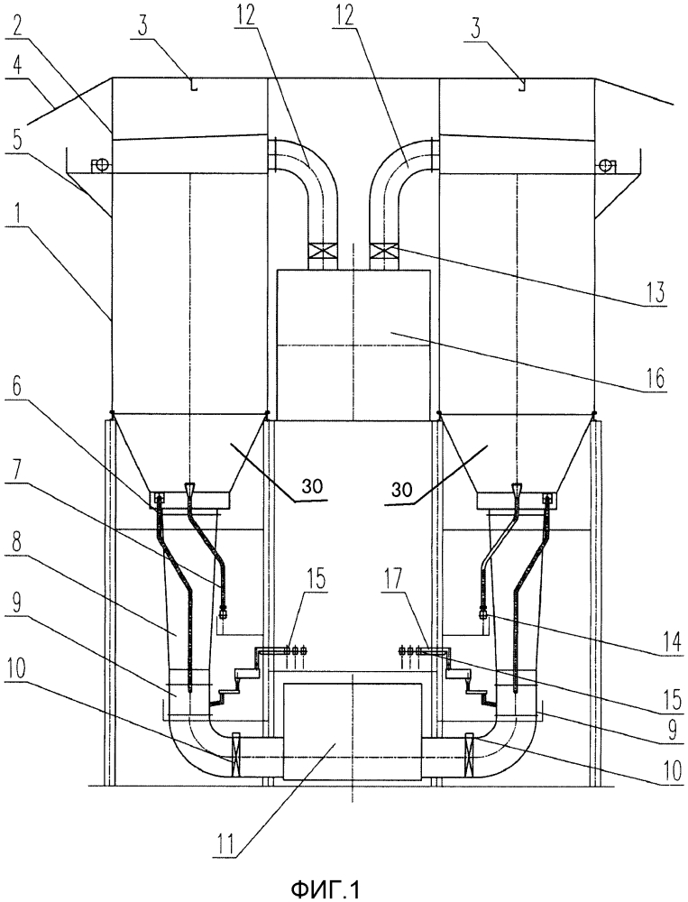 Система очистки с нижним газоподводом