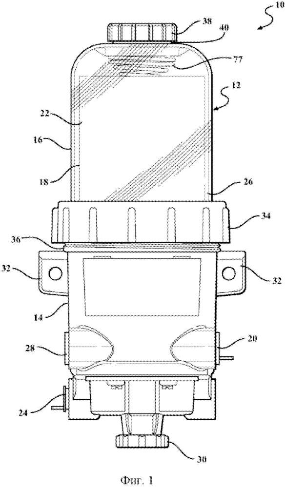 Фильтр для текучей среды с элементом стыковки картриджа фильтра и корпуса