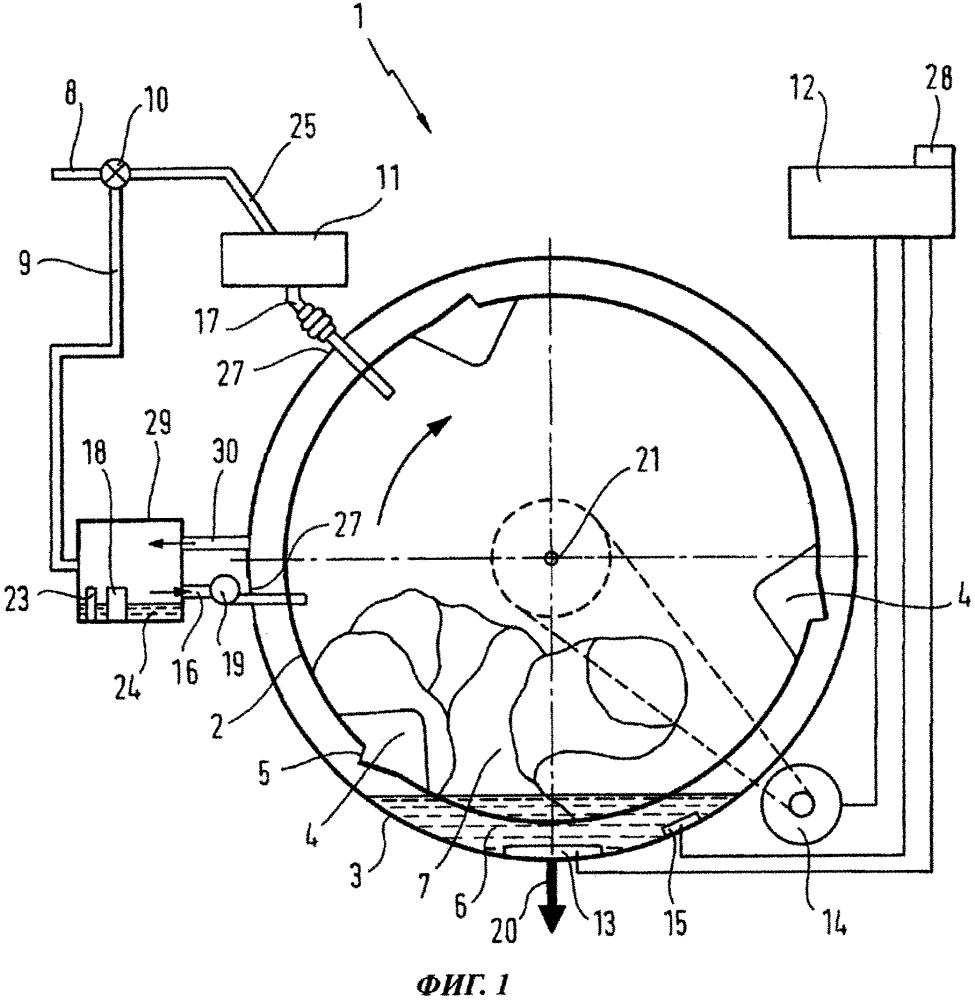 Стиральная машина с устройством для получения водяных капель и способ эксплуатации такой стиральной машины