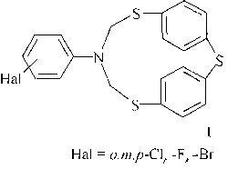 Способ получения 6-галогенфенил-2,4,8-тритиа-6-аза-1,3(1,4)-дибензоциклооктафанов