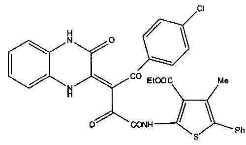 (z)-этил 2-(4-(4-хлорфенил)-2,4-диоксо-3-(3-оксо-3,4-дигидрохиноксалин-2(1н)-илиден)бутанамидо)-4-метил-5-фенилтиофен-3-карбоксилат, обладающий противодиабетической активностью, и способ его получения