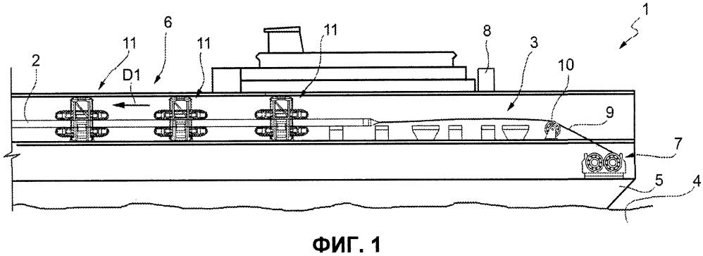 Способ и система оставления/поднятия (а/r) трубопровода с использованием троса, соединенного с трубопроводом, и переходное устройство для реализации способа
