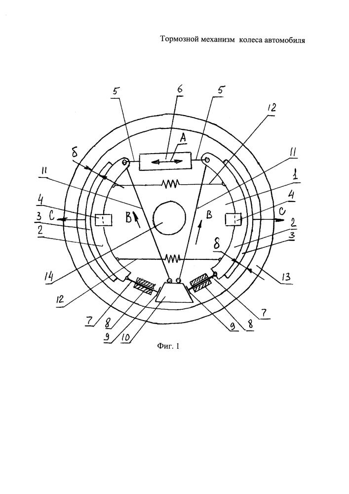 Тормозной механизм колеса автомобиля