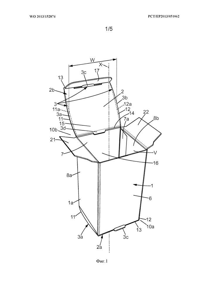 Коробка и упаковка, содержащая коробку, помещенную между четырьмя стаканчиками