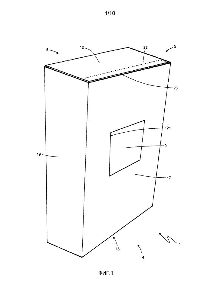 Упаковочный способ для получения выдвижной упаковки с табачными изделиями, имеющей шарнирную крышку и запечатывающую створку