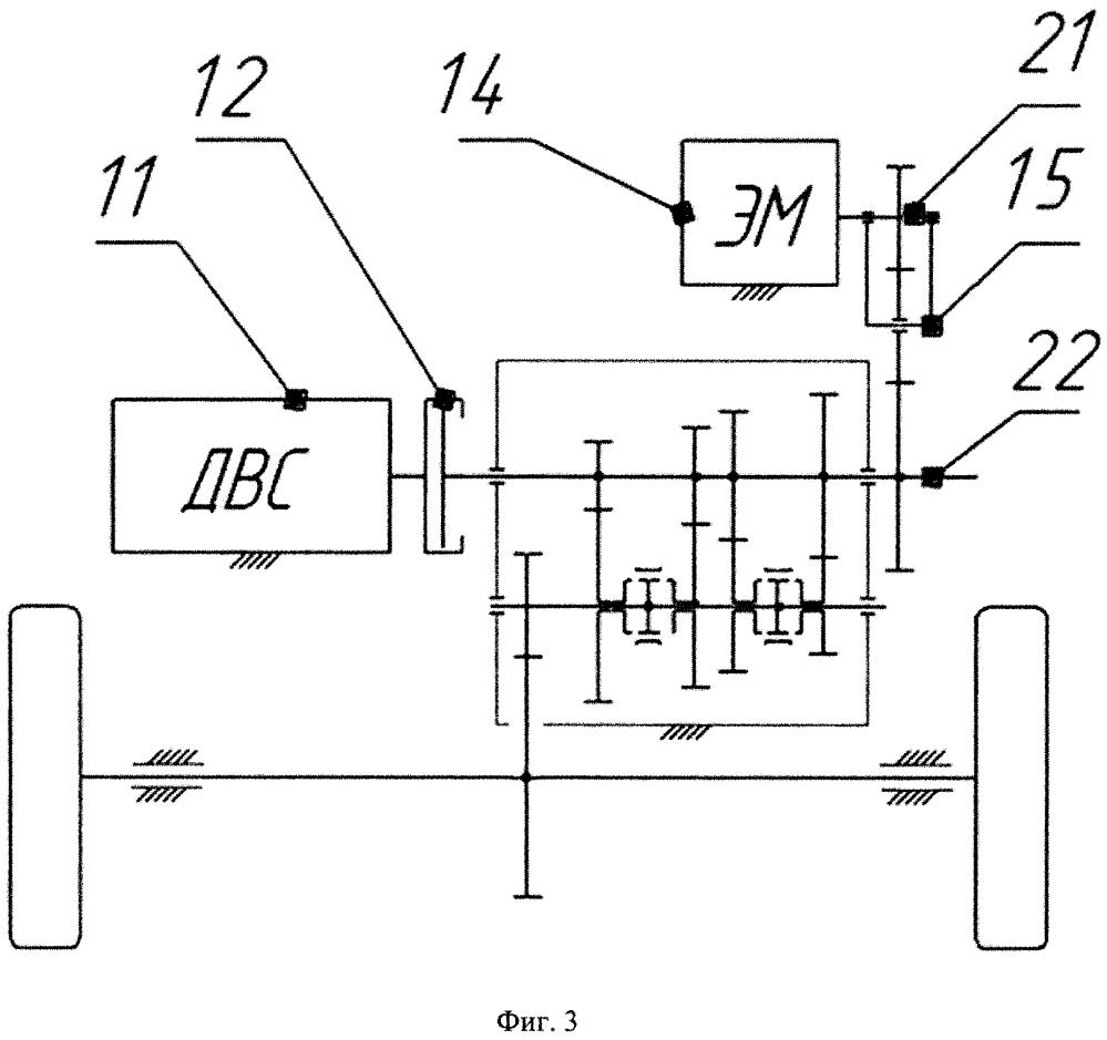 Кинематическая схема гибридной силовой установки с отключаемой обратимой электрической машиной и устройство для еe реализации