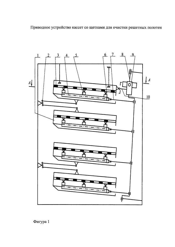 Приводное устройство кассет со щетками для очистки решетных полотен