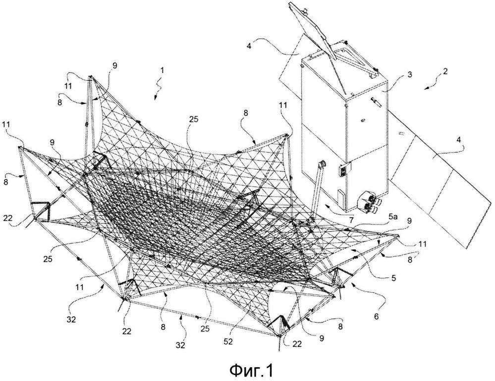 Крупногабаритный развертываемый отражатель для спутниковой антенны