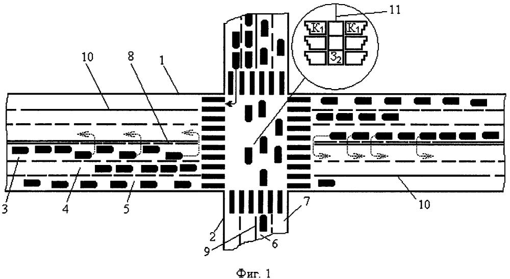 Способ регулирования движения транспортных средств на перекрестке транспортных магистралей