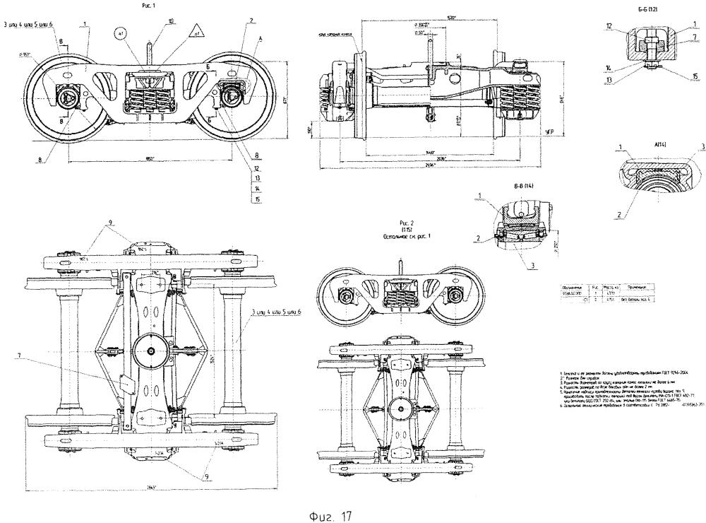 Тележка двухосная трехэлементная грузовых вагонов железных дорог и способ построения типоразмерного ряда тележек