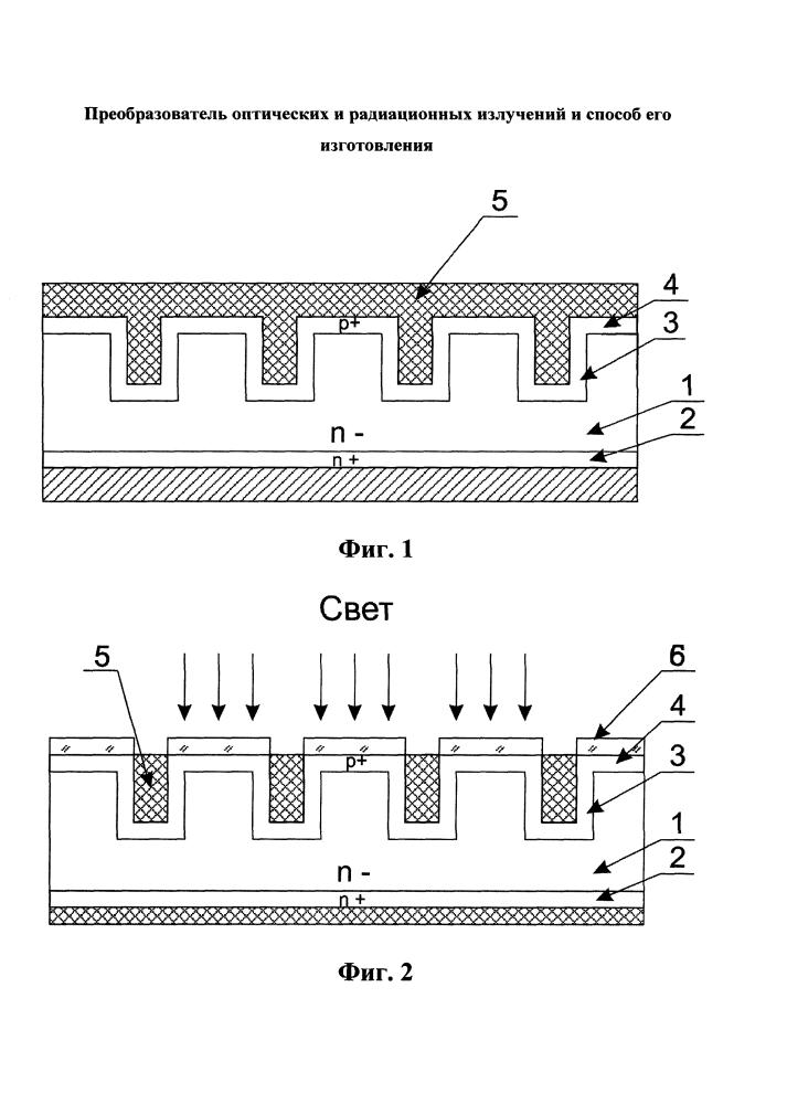 Преобразователь оптических и радиационных излучений и способ его изготовления