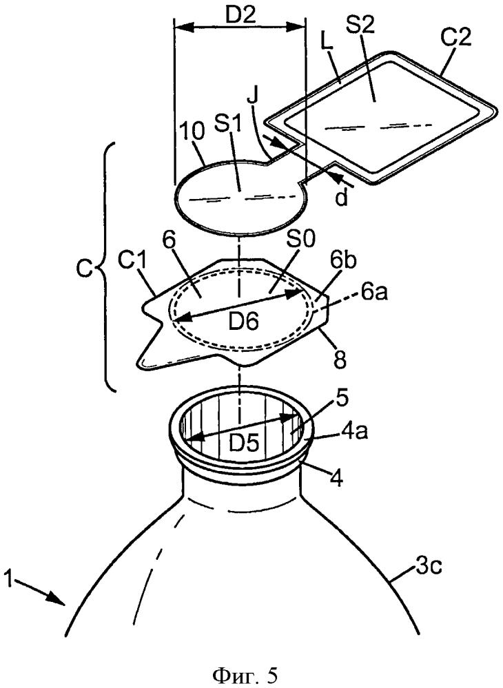 Наполненная жидкостью бутылка, имеющая крышечный злемент с продолжением, образующим этикетку