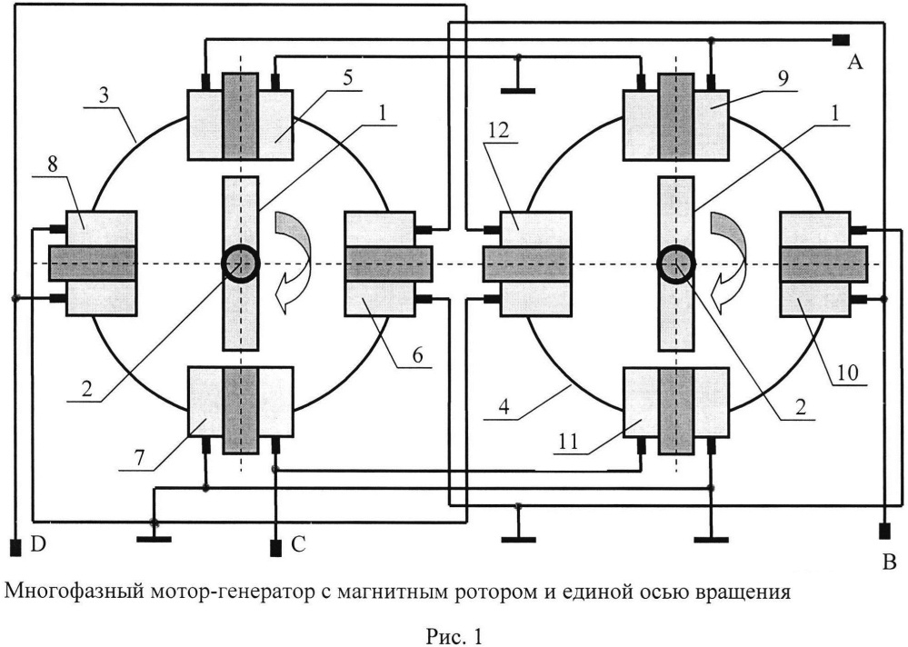 Многофазный мотор-генератор с магнитным ротором