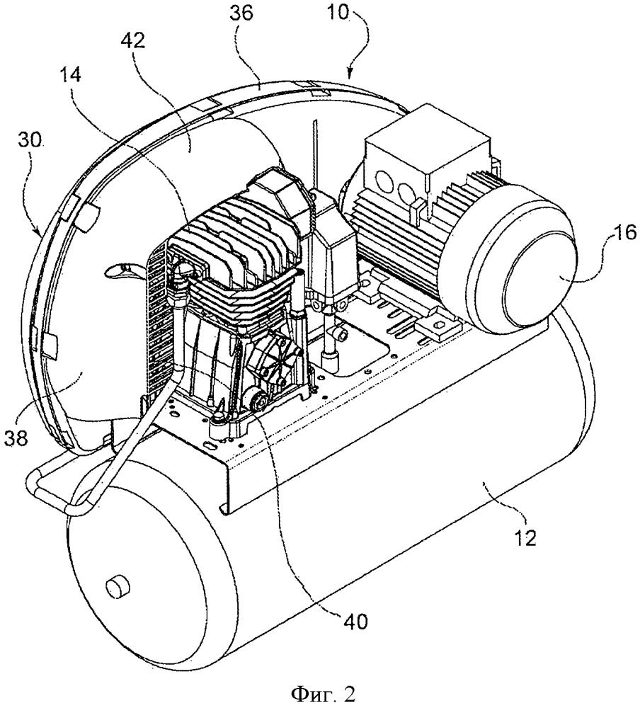 Воздушный компрессор с защитным кожухом ременного привода