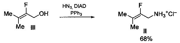 Способ получения 2-фтор-3-метилбут-2-ениламина или его гидрохлорида (варианты)