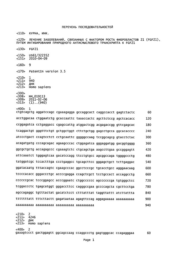 Лечение заболеваний, связанных с фактором роста фибробластов 21 (fgf21), путем ингибирования природного антисмыслового транскрипта к fgf21