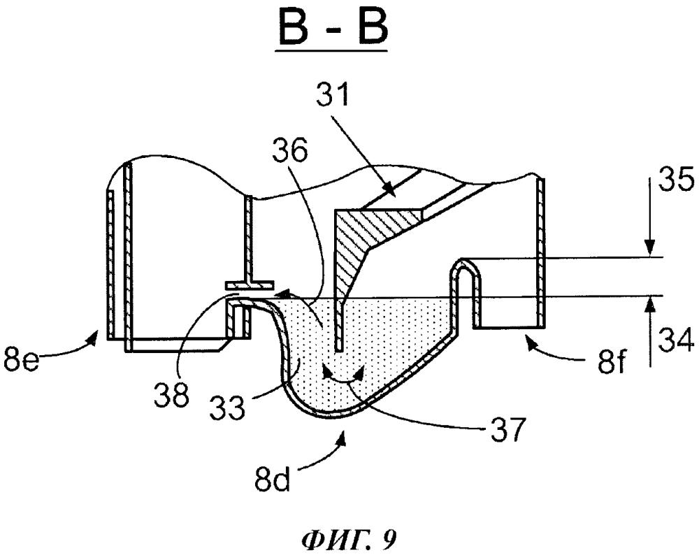 Смывающее устройство для бытового прибора по уходу за бельем и бытовой прибор по уходу за бельем