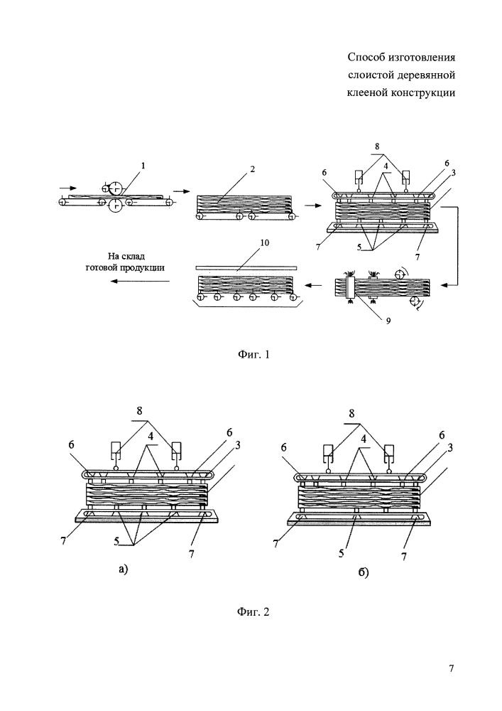 Способ изготовления слоистой деревянной клееной конструкции