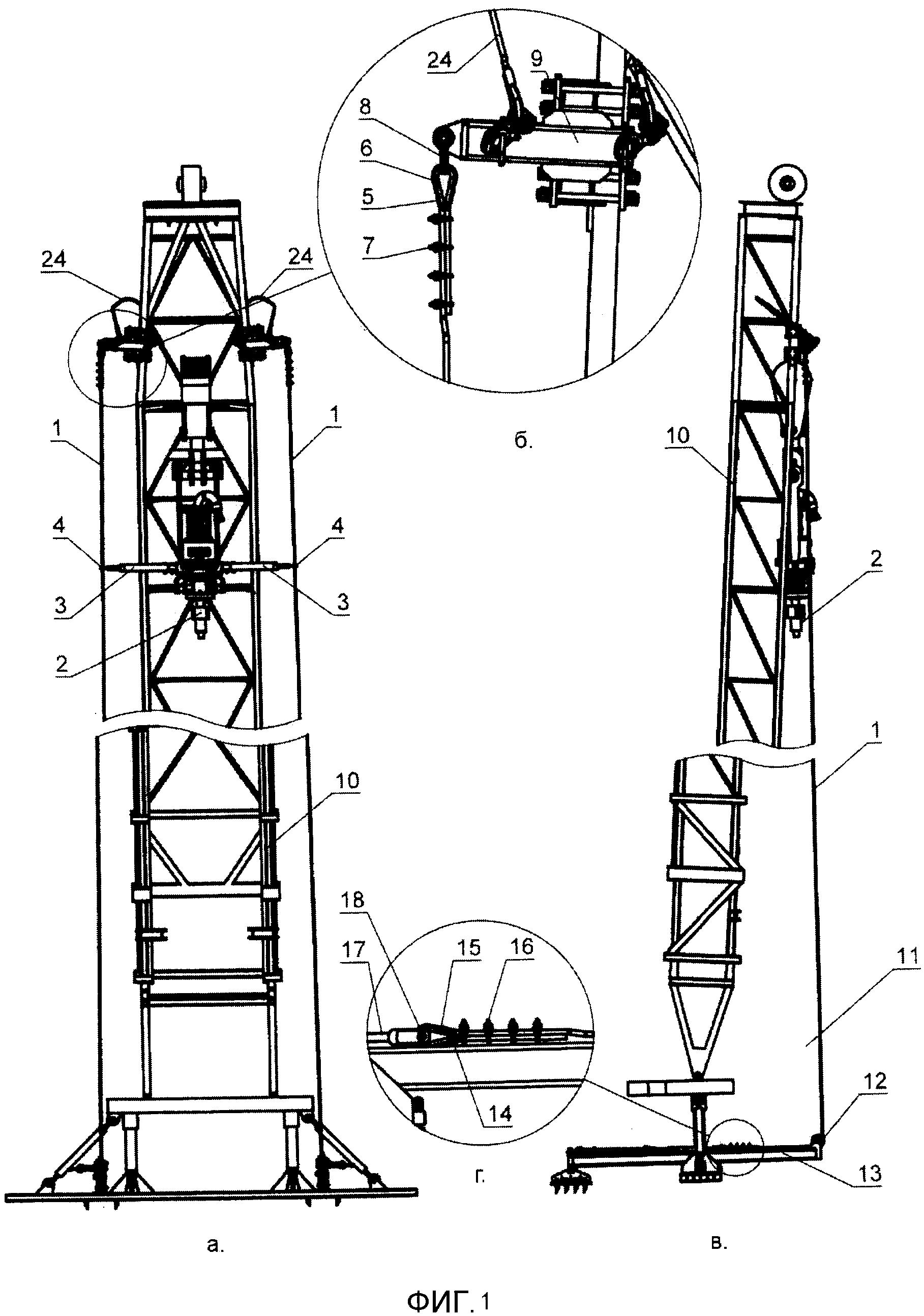 Канатная направляющая для силового вертлюга мобильной буровой установки