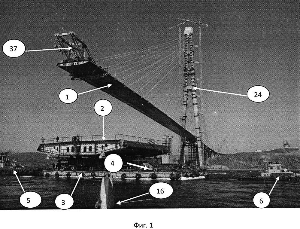 Способ сооружения пролетного строения вантового мостового перехода через морской судоходный пролив