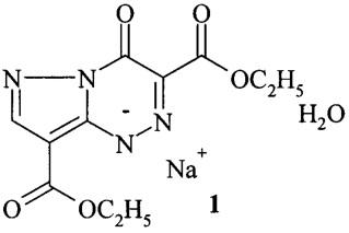 Натриевая соль диэтилового эфира 4-оксо-1,4-дигидропиразоло[5,1-c]-1,2,4-триазин-3,8-дикарбоновой кислоты, моногидрат