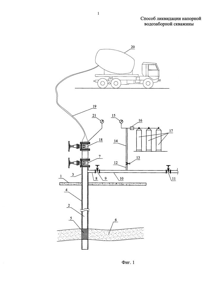 Способ ликвидации напорной водозаборной скважины