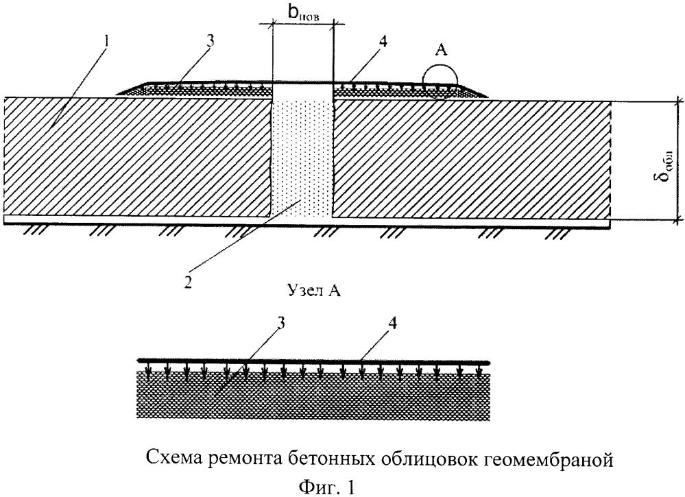 Способ ремонта бетонных облицовок оросительных каналов