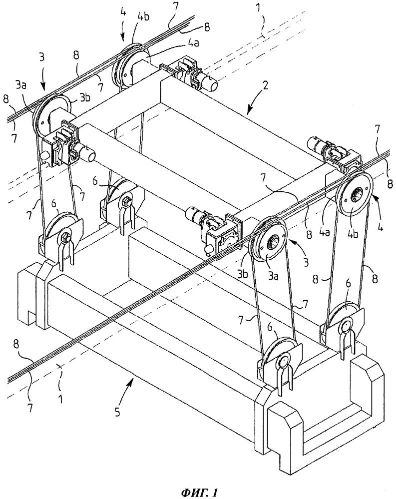 Устройство проводки подъемных канатов в крановой тележке