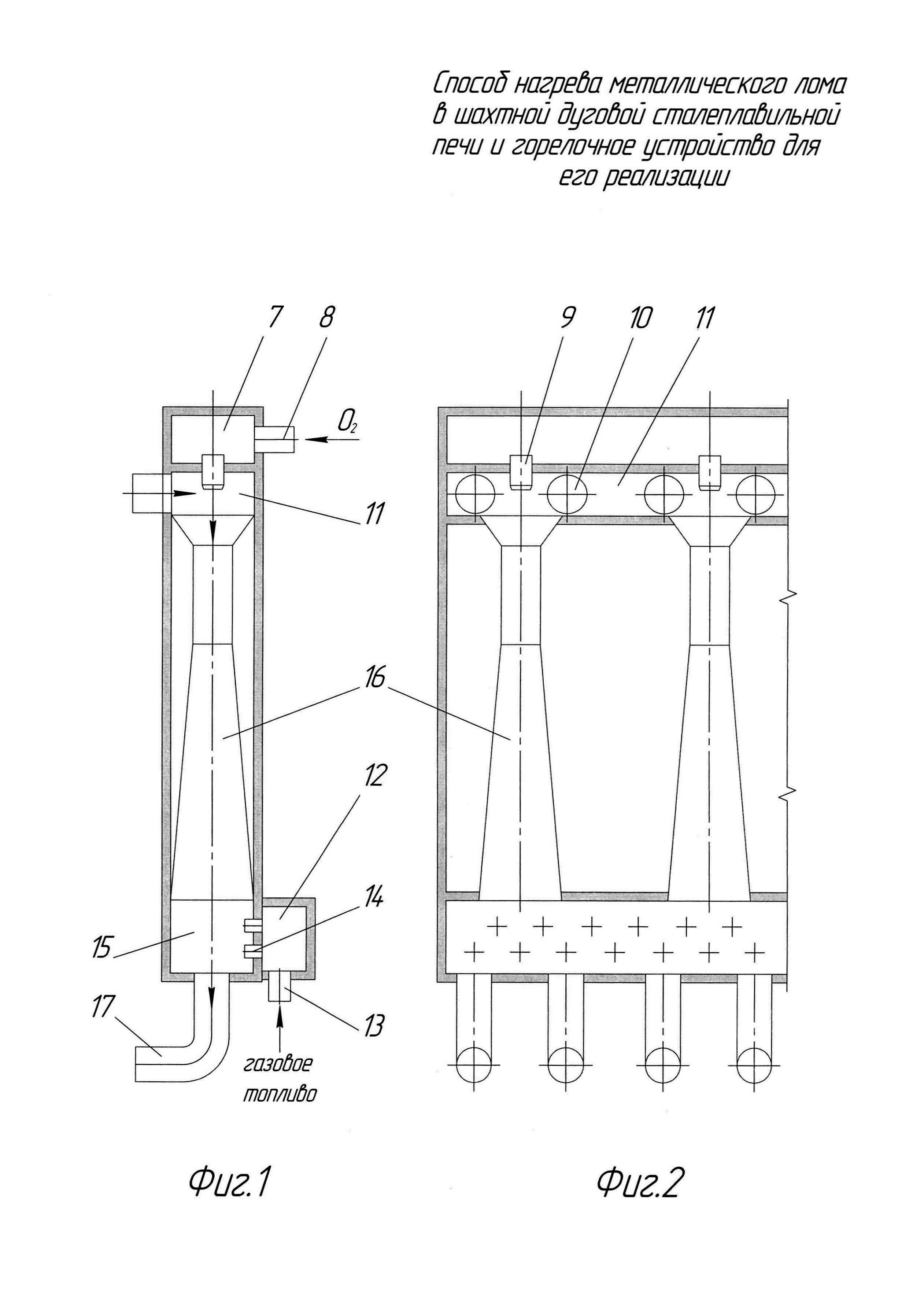 Способ нагрева металлического лома в шахтном подогревателе дуговой сталеплавильной печи и горелочное устройство для его реализации