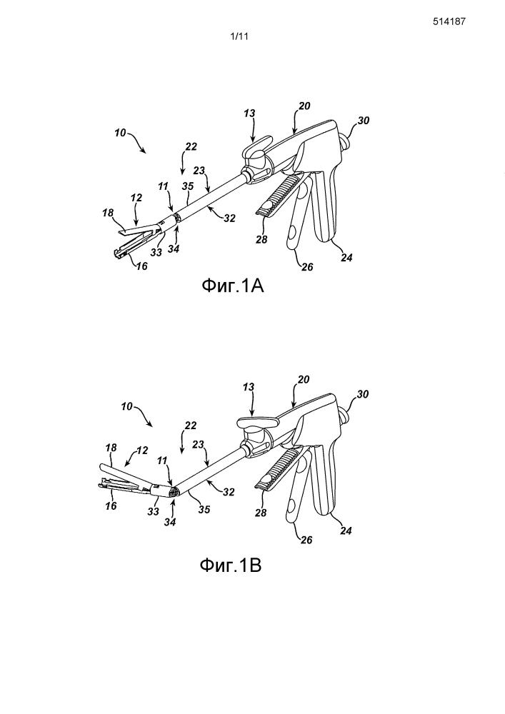 Хирургическая кассета со скобами с саморазворачивающимся укрепляющим элементом для скоб
