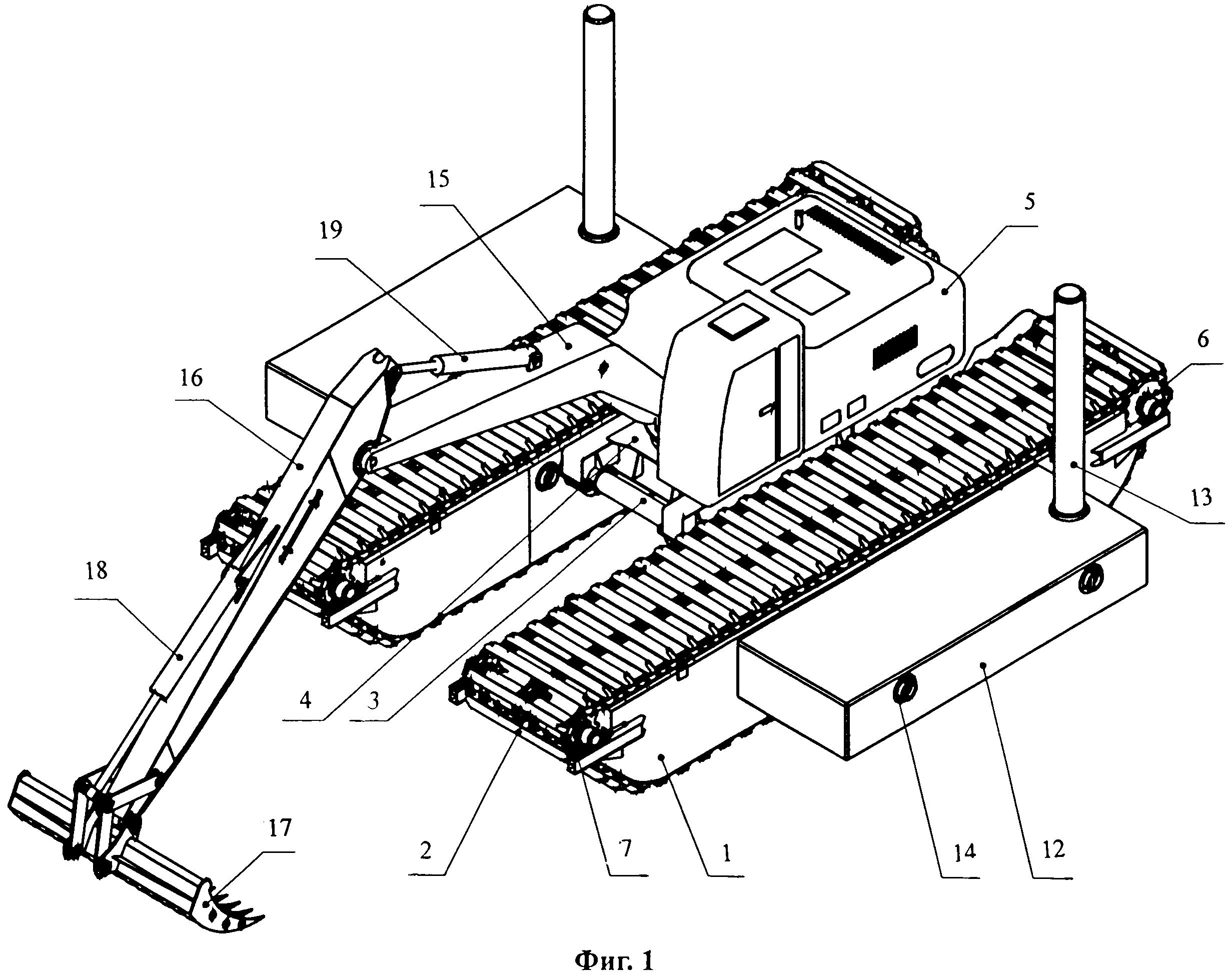 Плавучее средство гусеничного типа с землеройным оборудованием