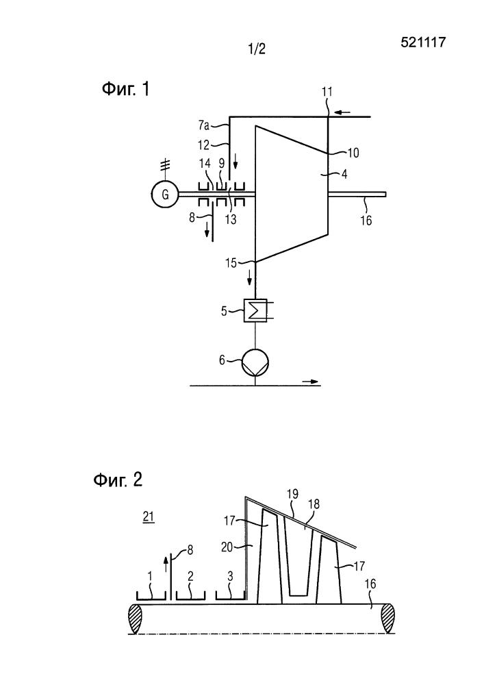 Уплотнительная система паровой турбины, причем используется уплотнительная жидкость и отсос пара, сконденсировавшегося в туман