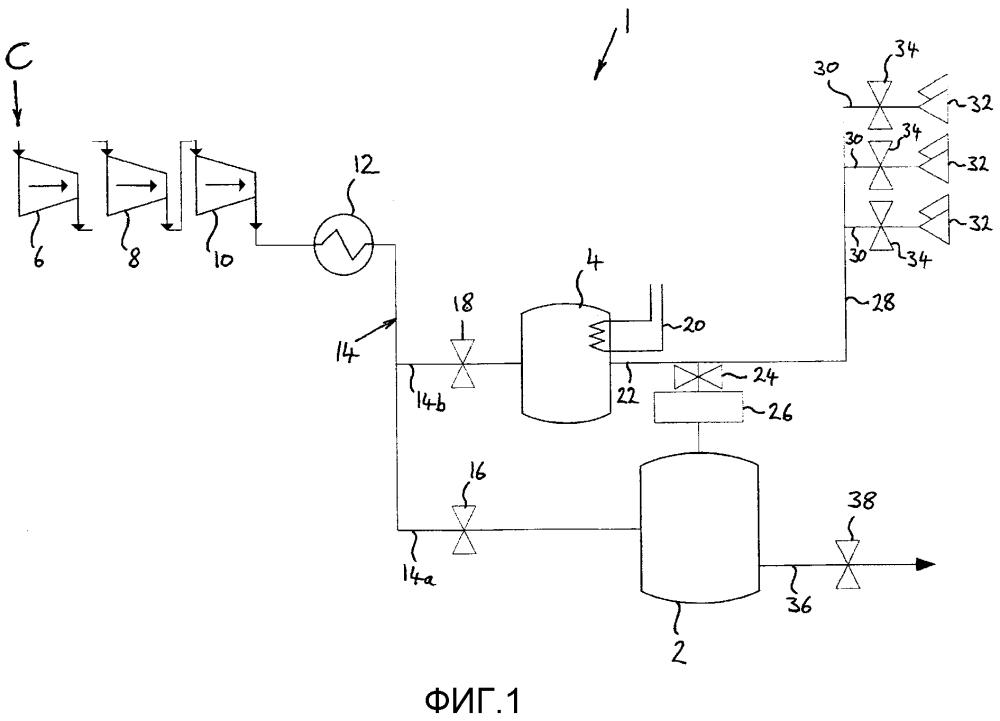 Система для извлечения, хранения и использования атмосферного газа для применения в качестве реактивного рабочего тела
