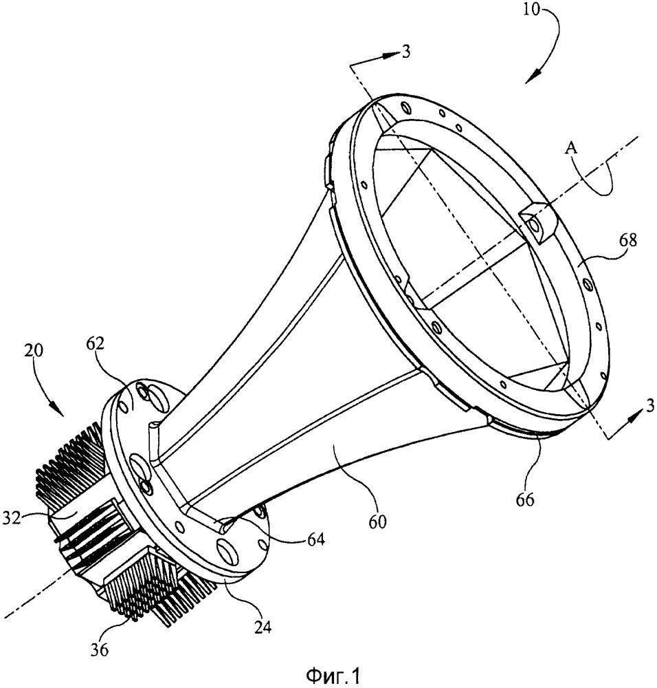 Светодиодное осветительное устройство с оптическим компонентом для смешения выходных световых излучений от множества светодиодов