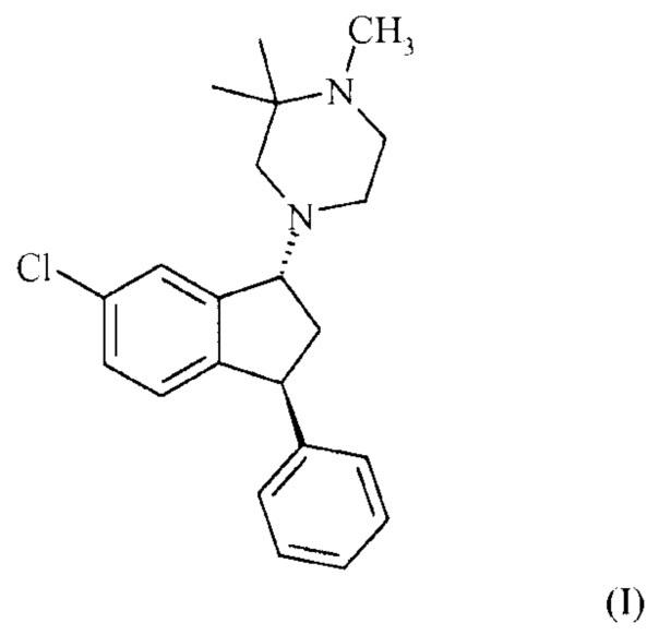 Способ применения 4-((1r,3s)-6-хлор-3-фенилиндан-1-ил)-1,2,2-триметилпиперазина и его солей в лечении шизофрении
