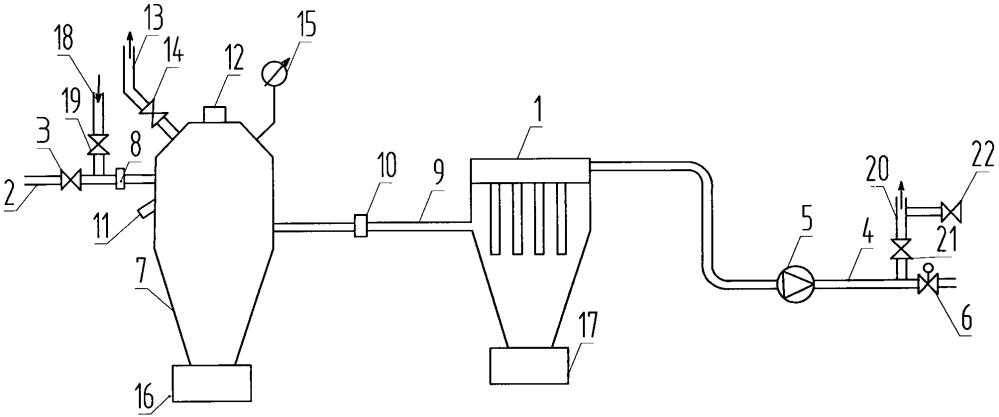 Комплекс с фильтром для сухой очистки взрывоопасных газовых смесей