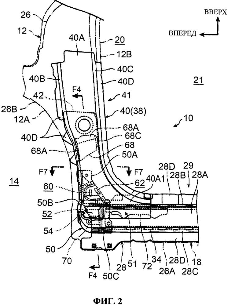 Нижний конструктивный элемент передней стойки автомобиля