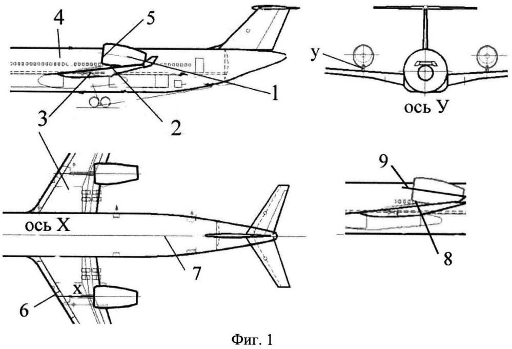 Мотогондола двигателя на крыле летательного аппарата