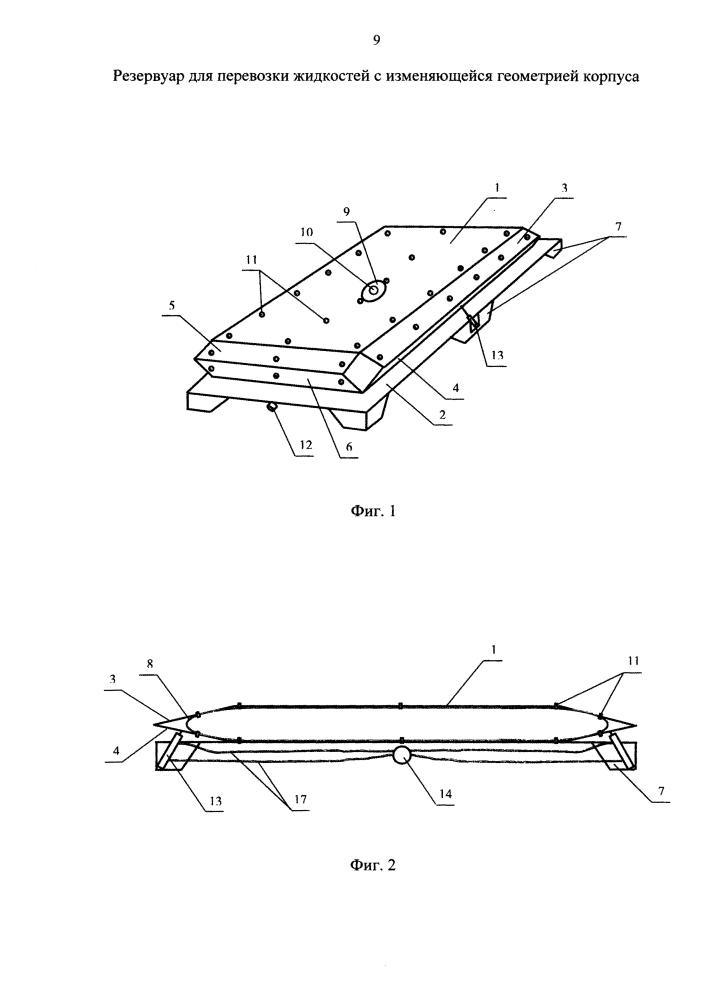 Резервуар для перевозки жидкостей с изменяющейся геометрией корпуса