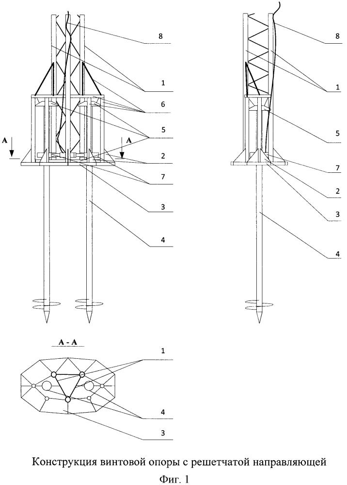 Винтовая опора с решетчатой направляющей