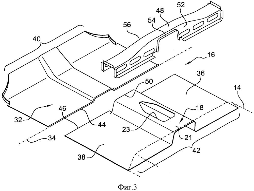 Конструктивный узел кузова автотранспортного средства, содержащий плоский передний пол