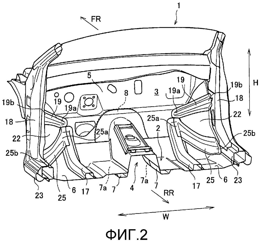 Структура передней секции кузова транспортного средства