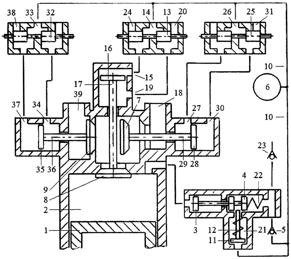Способ дополнительного наполнения цилиндра двигателя внутреннего сгорания воздухом или топливной смесью перекрытием фаз газораспределения системой привода трёхклапанного газораспределителя с зарядкой пневмоаккумулятора системы привода воздухом из атмосферы