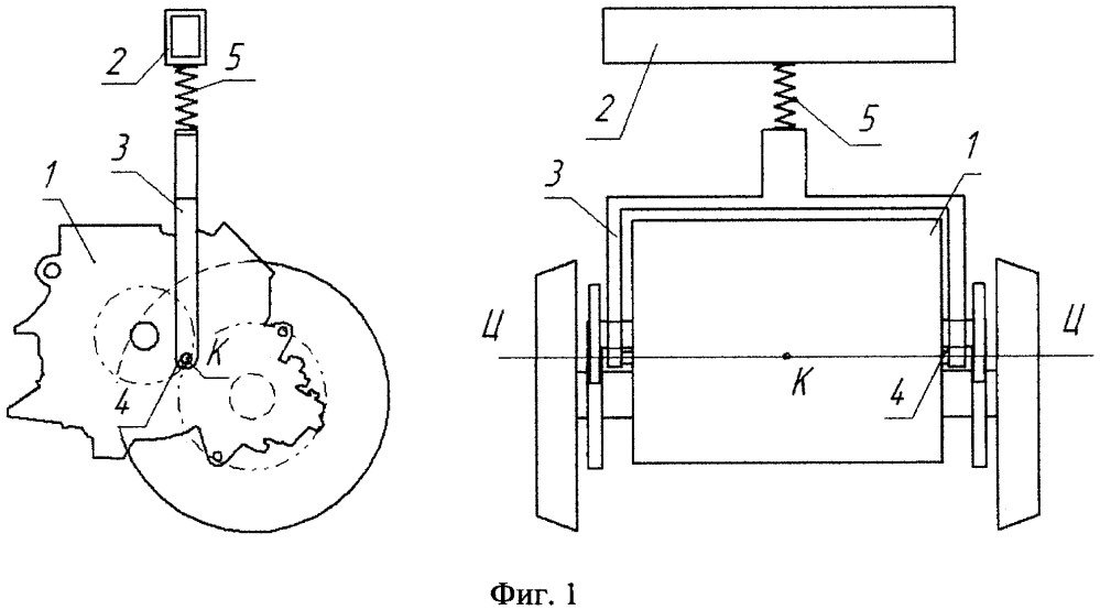 Центральное подвешивание колесно-моторного блока